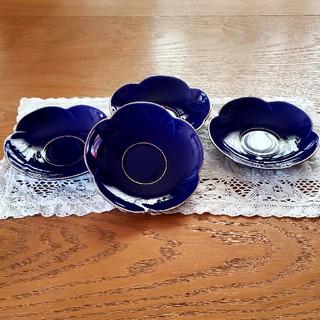 香蘭社 - 香蘭社 瑠璃色 梅型 茶托 4枚セット 新品