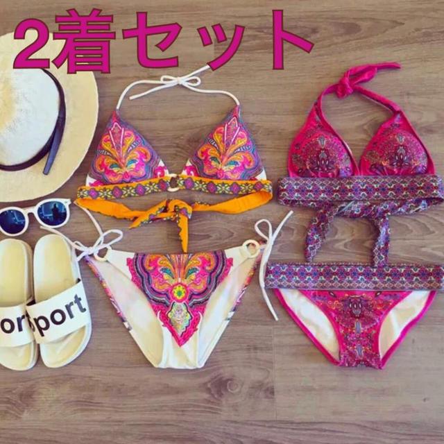 2着セット お得☆花柄がかわいいビキニ レディースの水着/浴衣(水着)の商品写真