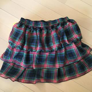 ジーユー(GU)の女児  140タータンチェックフリルスカート(スカート)