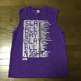 ズンバ(Zumba)のズンバTシャツ紫袖なしタンクトッププリント部分シルバー(Tシャツ(半袖/袖なし))
