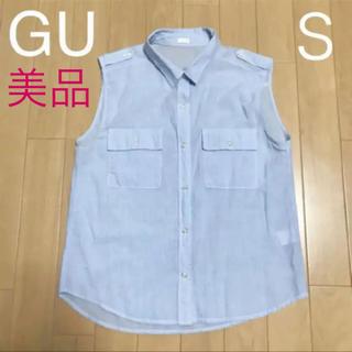 ジーユー(GU)のGU  ノースリーブシャツ 袖なし シャツ レディース 水色(シャツ/ブラウス(半袖/袖なし))