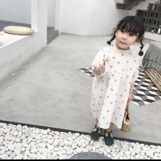 韓国子ども服 ゆるシルエット♡さくらんぼワンピース(ワンピース)