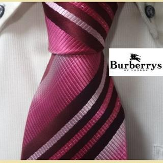 BURBERRY - 希少★バーバリーBURBERRYS【ラメ糸ストライプ】ピンク高級ネクタイ★