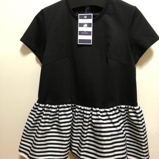 バーニーズニューヨーク(BARNEYS NEW YORK)のボーダーズアットバルコニー ペプラムTシャツ 黒(Tシャツ(半袖/袖なし))