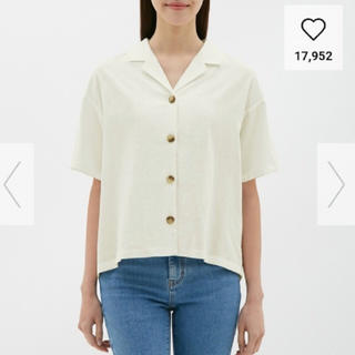 GU - リネンブレンドオープンカラーシャツ ホワイト M