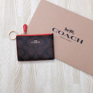 コーチ(COACH)の人気色!COACH ブラウンレッド コインケース パスケース 2WAY(コインケース)