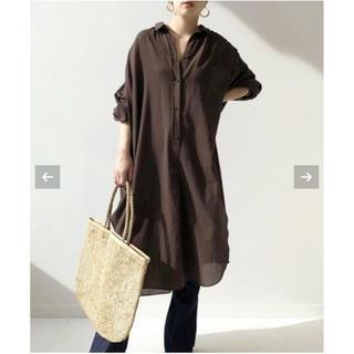 12ee6e9ab546ca プラージュ(Plage)のPlage long gatherシャツ ブラウン(シャツ/ブラウス(長袖