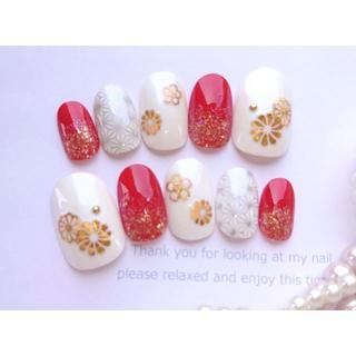 ぴーたろ様専用◆やすりあり◆赤とシルバーと金の和柄のネイルチップ♡53
