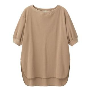 ジーユー(GU)のgu☆ワッフルオーバーサイズT(5分袖)☆ブラウン☆XSサイズ(Tシャツ(半袖/袖なし))