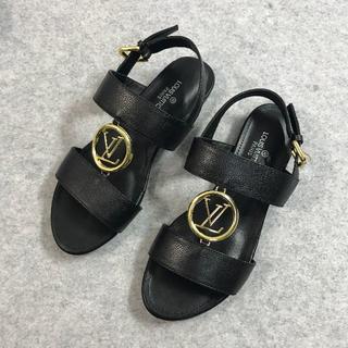 ルイヴィトン(LOUIS VUITTON)のLOUIS VUITTON  靴/シューズ サンダル ブラック サイズ38(サンダル)