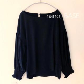 nano・universe - nano  BASE ブラウス ネイビー ナノユニバース
