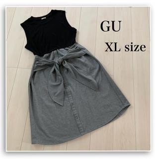 GU - GU♡ノースリーブ ワンピース♡ワッフル♡リボン♡フロントボタン♡大きいサイズ