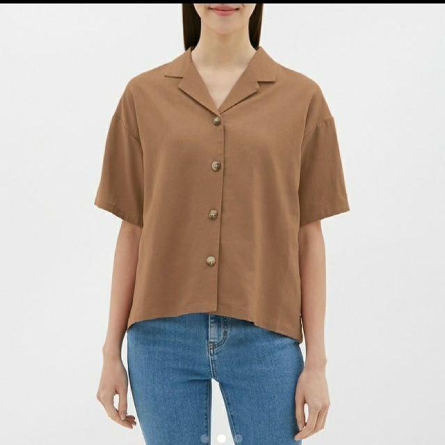 GU(ジーユー)のGU ジーユー リネンブレンドオープンカラーシャツ レディースのトップス(シャツ/ブラウス(半袖/袖なし))の商品写真