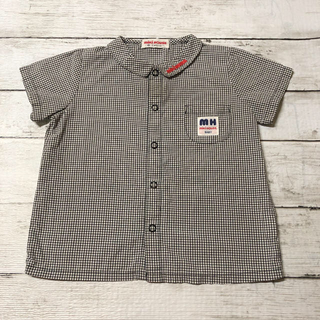 ミキハウス(mikihouse)のミキハウス ギンガムチェック  半袖 シャツ  80(シャツ/カットソー)