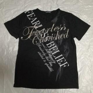 シマムラ(しまむら)のカッコいいプリント Vネック半袖カットソー 3L ブラック(Tシャツ/カットソー(半袖/袖なし))