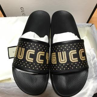 グッチ(Gucci)の新品正規品 GUCCI グッチ guccy ブラック8 ロゴ スライド サンダル(サンダル)