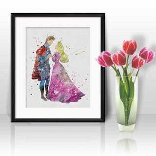 Disney - オーロラ姫&王子(眠れる森の美女)アートポスター【額縁つき・送料無料!】