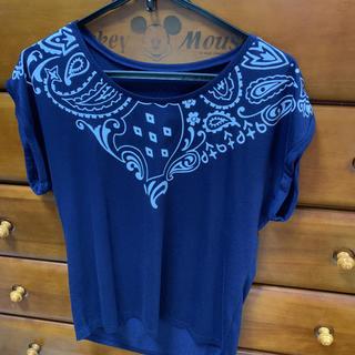 しまむら - レディース ペイズリー柄プリント半袖Tシャツ ネイビー L しままら