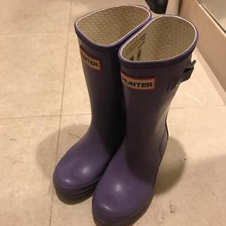 ハンター(HUNTER)のHUNTERハンター レインブーツ 長靴 パープル 18センチ相当 汚れあり(長靴/レインシューズ)