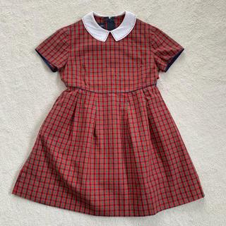 familiar - 【美品】ファミリア★定番赤チェックワンピース 120cm