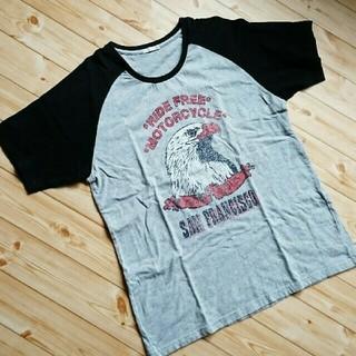 GU - GU(ジーユー) U襟 半袖Tシャツ イーグルプリント グレー&ブラック XL