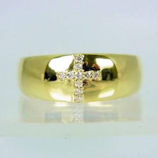 K18イエローゴールド ダイヤモンド クロス リング 12号(リング(指輪))