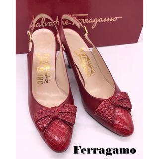 Salvatore Ferragamo - フェラガモ バッグストラップリボンレザーパンプス