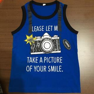 ニシマツヤ(西松屋)の西松屋 カメラプリント青 タンクトップ 120サイズ 少し小さめ(Tシャツ/カットソー)