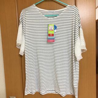 しまむら - しまむら 袖レース 白×黒 ボーダー Tシャツ 4Lサイズ