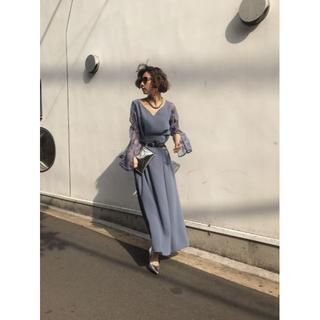 アメリヴィンテージ(Ameri VINTAGE)の☆ 新品 結婚式 AMERI LACE SLEEVE REFINED DRESS(ロングドレス)