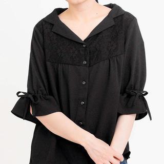 マジェスティックレゴン(MAJESTIC LEGON)のレース使いリボン袖開襟ブラウス(シャツ/ブラウス(半袖/袖なし))