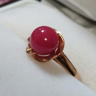 沖縄赤珊瑚 捻り梅リング(リング(指輪))