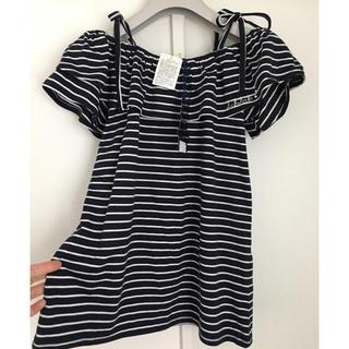 シマムラ(しまむら)の未使用★Ank Ank ボーダーオフショル Tシャツ160(Tシャツ/カットソー)