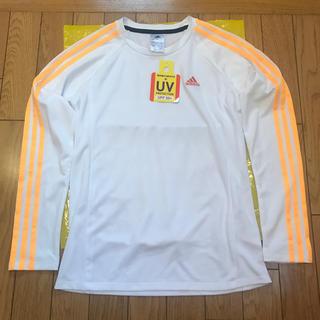アディダス(adidas)の訳あり‼︎adidas☆レディース ロンT 未使用 ホワイト×オレンジ Mサイズ(Tシャツ(長袖/七分))