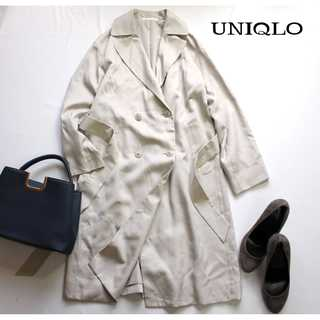 ユニクロ(UNIQLO)のユニクロ★テンセル素材 トレンチコート とろみ 春コート S ベージュ 通勤(スプリングコート)