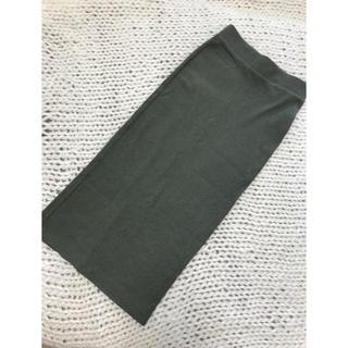 エイチアンドエム(H&M)のカーキタイトスカート(ひざ丈スカート)