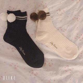 Lily Brown - Lily Brown スポーツ ソックス 2足セット ライン ぽんぽん