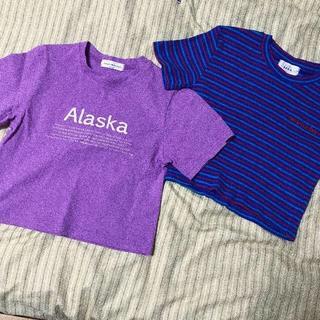 ミックスエックスミックス(mixxmix)の韓国  ミニ丈 Tシャツ💜 (左側)(Tシャツ(半袖/袖なし))