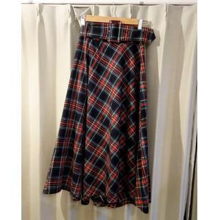 チェック ロングスカート 赤色 可愛い お洒落 ウエストライン(ロングスカート)