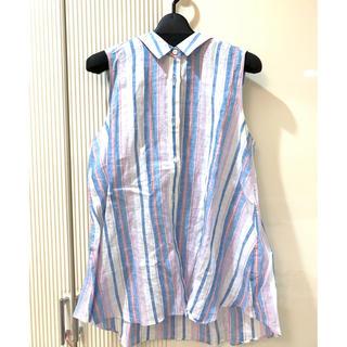 トゥモローランド(TOMORROWLAND)の着用2度のみ tomorrowland リネンノースリーブフレアシャツ(シャツ/ブラウス(半袖/袖なし))