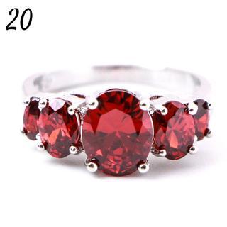 P13 リング 20号 5粒 人工石 ルビー シルバー 大きいサイズ(リング(指輪))
