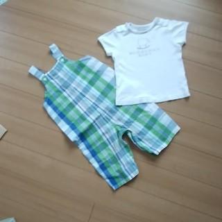 バーバリー(BURBERRY)のバーバリーTシャツ+GAPオーバーオール70(Tシャツ)