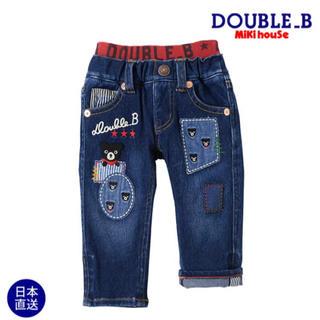 DOUBLE.B - ダブルB★リメイク風パッチワークのジーンズ110★ミキハウスビーくんデニムパンツ