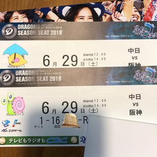 ハンシンタイガース(阪神タイガース)の6/29 中日vs 阪神 サファイアシート 2枚 中日ドラゴンズ チケット(野球)