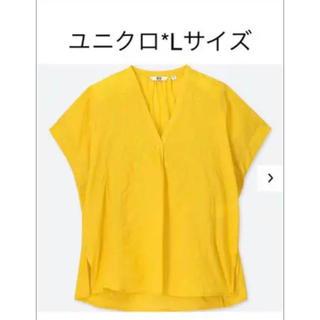 ユニクロ(UNIQLO)のユニクロ*Lサイズ*刺繍ブラウス*イエロー(シャツ/ブラウス(半袖/袖なし))