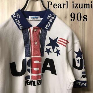 ナイキ(NIKE)の古着90s PEARL iZUMi USAデカロゴ ポロシャツ スポーツMIX(ポロシャツ)