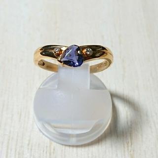 【K18】 青紫ストーン付デザインリング(11号)(リング(指輪))