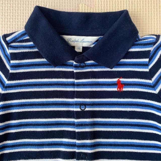 Ralph Lauren(ラルフローレン)のラルフローレン♡ボーダーショートオール 70 キッズ/ベビー/マタニティのベビー服(~85cm)(カバーオール)の商品写真