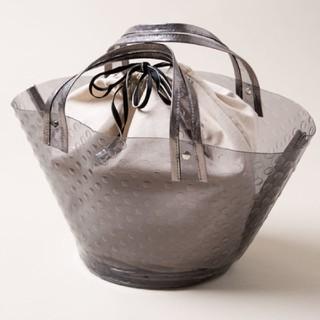 IENA - ikot PVC×レザー 巾着付き ドット バッグ