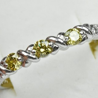 K18WG イエローダイヤモンド 0.30ct リング 17号 指輪  (リング(指輪))